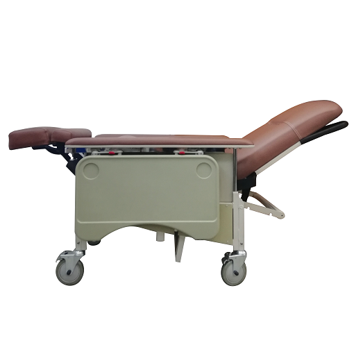 DNR Mobile Geriatric Chair with Drop Down Armrest full recline