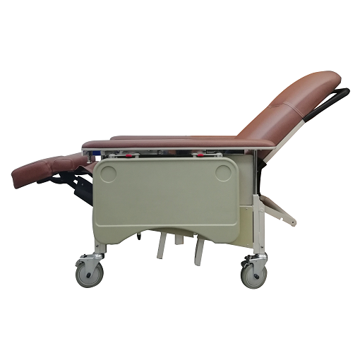 DNR Mobile Geriatric Chair with Drop Down Armrest recline