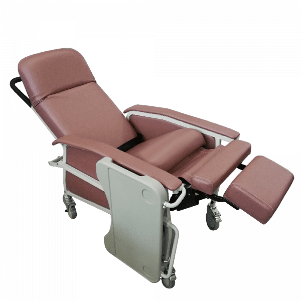 Manual Reclining Geriatric Chair with Tray full recline