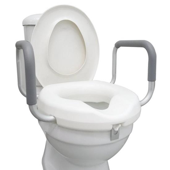 Raised Toilet Seat with handle on toilet bowl