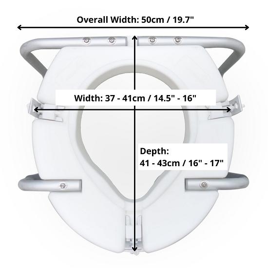 Raised Toilet Seat with measurement